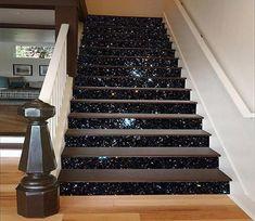 Home decor Shining Stars Sky 1588 Stair Risers Glitter Stairs, Marble Stairs, Floating Stairs, Stair Risers, Home Wallpaper, Wallpaper Stairs, Wallpaper Murals, Vinyl Wallpaper, Trendy Wallpaper