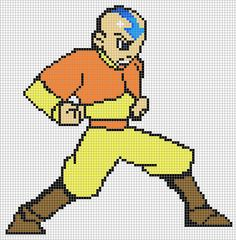 Aang Avatar Pixel Art Templates Free Download for PC, Handled Device or Mobile brought to you by PixelArtTemplates.com