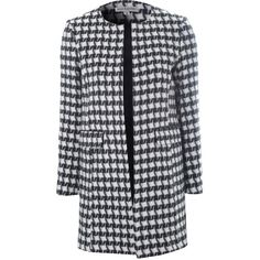 Alice & You Collarless Cocoon Coat (40 AUD) ❤ liked on Polyvore featuring outerwear, coats, jackets, coats & jackets, sale, collarless coat, cocoon coat, print coat, long sleeve coat and pattern coat