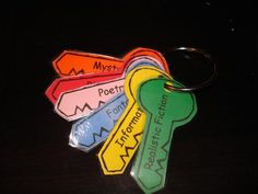 Love this idea to get kids reading different genres! Each child gets a keychain. When they read a book of a certain genre, they get that key. - This can also be modified as a motivator for reading books in general!