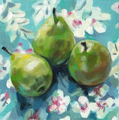 Still life of pears and flowers  / original acrylic by tushtush, $120.00