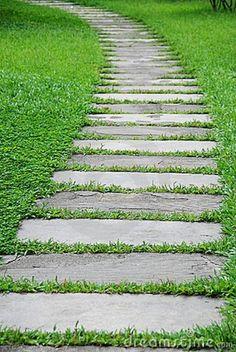 Stepping Stone Paths, Stone Walkway, Garden Paving, Garden Paths, Small Garden With Stones, Landscape Design, Garden Design, Bluestone Pavers, Stock Image