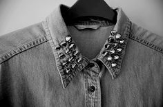 diy for my denim shirt #spikes