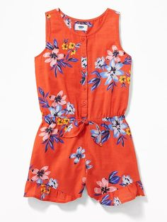 Old Navy Girls' Floral Cinched-Waist Rompers Red Floral Regular Size XS Cute Girl Outfits, Cute Summer Outfits, Little Girl Dresses, Outfits For Teens, Luxury Baby Clothes, Toddler Girl Gifts, Kids Clothing Brands, Old Navy Girls, Baby Shirts
