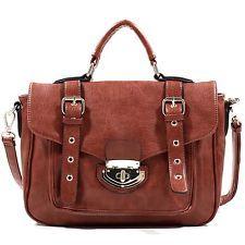 Fun and Roomy Emperia Belted Satchel w/ Twist Lock Closure Fashion Shoulder Bag Handbag Brown