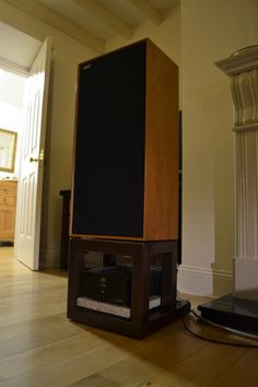 Celestion Ditton 44 speakers on custom stands and powered by Audio Note P-Zero monoblock amplifiers.