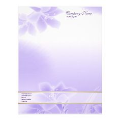 Misty #Purple #Floral #Letterhead with text ready for your customization.