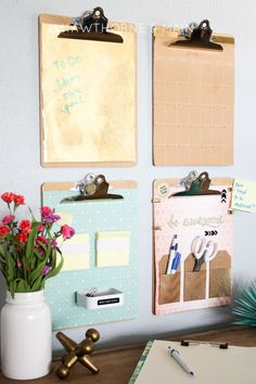 DIY Desk Organization Command Center! Such pretty ideas to spruce up your home office space!
