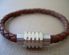Mens Braided Leather Bracelet with Stainless Steel Magnetic Clasp, Mens Bracelet, Mens Jewelry, Mens Gift, Gift for Him, Bracelet, Jewelry