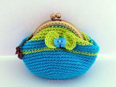 Monedero ganchillo-azul y verde- de La Tienda Vintage de Kima por DaWanda.com