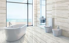 StonePeak Tile Zebrino Calcatta. A stunningly sleek beachfront bathroom. The Stonepeak Zebrino tile in Calcatta is a contemporary look perfect for a modern bathroom.