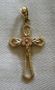 Pretty & Dainty 14k Yellow & Rose Gold Cross Necklace Pendant w/Flower & Leaves $45.00 obo