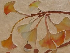 detail of gingko mosaic Mosaic Art, Mosaic Glass, Glass Art, Stained Glass, Exeter, Art Nouveau Interior, Art Nouveau Illustration, Art Nouveau Jewelry, Leaf Art