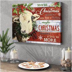 Christmas Wall Art Canvas Cow Canvas, Canvas Wall Art, Canvas Prints, Christmas Wall Art Canvas, Cow Wall Art, Canvas Material, Beautiful Christmas, Cotton Canvas, Moose Art