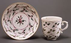 Cup and saucer Doccia manufactory  Date: 1770–80 Culture: Italian (Florence) Medium: Hard-paste porcelain
