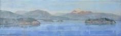 Eric Eschenbach, View from Cap Sante || Encaustic & oil || 8 x 24
