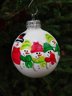 **Please read entire listing before placing order! **  Wow your friends and family with a beautiful handpainted snowman ornament as a gift this year! Not sure what to get that person who has everything? Need a unique and thoughtful gift for your teacher/daycare provider, co-worker, mail