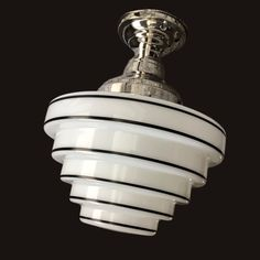1930's - 1940's Milk Glass Skyscraper Shade Vintage Art Deco Antique Chandelier Ceiling Light Fixture Nickel Chrome Restored Rewired