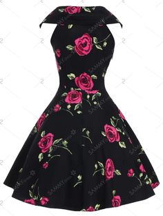 Retro Style V-Neck subiu de impressão manga curta vestido de baile para as Mulheres - Vermelho L
