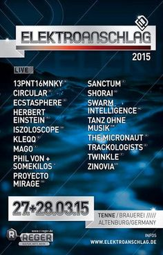 Swarm Intelligence and Mago will be the Ad Noiseam representatives at the 2015 edition of the Elektroanschlag festival in Altenburg, Germany.