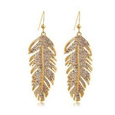 Love Wings - Czech Drilling Leaves Earrings| Noivi ❤ liked on Polyvore featuring jewelry, earrings, accessories, leaves jewelry, leaves earrings, leaf jewelry, wing earrings and wing jewelry