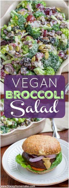 Easy Vegan oil-free Cashew Cream Broccoli Salad
