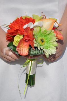 Silk Flower Exotic Bright Orange & Lime Green Orchids & Gerbera Bridesmaid Wedding Bouquet - colours can be changed. Love the orange, change out the green. Delia range