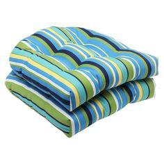 Pillow Perfect 2 Piece Outdoor Wicker Seat Cushions   Topanga Stripe