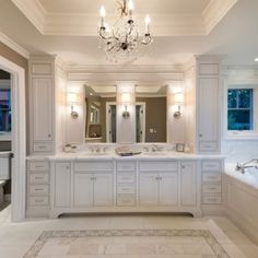 Bathroom: Crystal Chandelier In Beautiful Inexpensive Bathroom Remodeling  Ideas With Marble Floor And White Bathtub Plus White Drawers