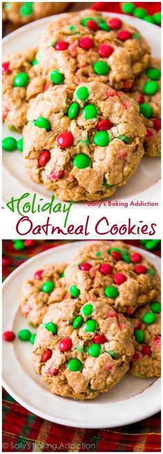 Soft and Chewy Holiday Oatmeal M&M Cookies!