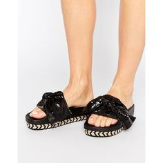c5174bdc8ceb SixtySeven Black Bow Slide Flat Sandals (73 CAD) ❤ liked on Polyvore  featuring shoes