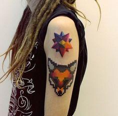 Tattoos by Sasha Unisex - Inked Magazine Oak Leaf Tattoos, Star Tattoos, Sleeve Tattoos, Tatoos, Tattoo Graphique, Watercolor Fox Tattoos, Watercolour, Fuchs Tattoo, 8 Bits