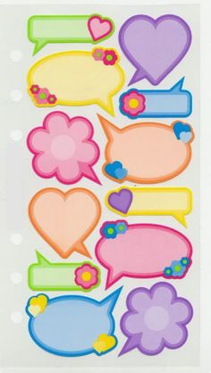Speech bubbles; hearts and flowers