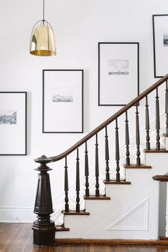 Entry way remodel. In this one room challenge, Mom Envy remodels a entry way with a little bit of farmhouse style. Check out the before & the plan. frames, One Room Challenge: Entry Way Remodel - Farmhouse Style Entry Gallery Wall Staircase, Staircase Wall Decor, Stairway Decorating, Foyer Decorating, Picture Wall Staircase, Hallway Art, Gallery Walls, Wall Decor For Stairway, Decorating Ideas