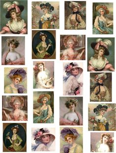 decoupage paper papers victorian ladies bows flowers feathers