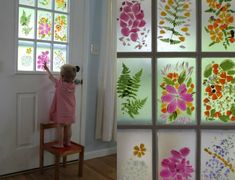 Flower petal faux stained glass front door - Made with flower petals and contact paper