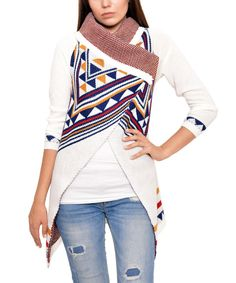 Look at this White Tribal-Geo Button-Collar Cardigan on #zulily today!