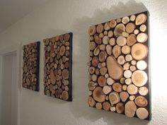 Bilderrahmen - Bild aus einzelnen Holzscheiben - ein Designerstück von Holz-Style bei DaWanda