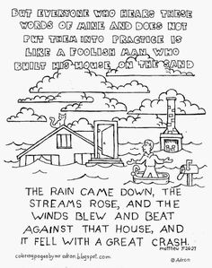 Printable Coloring Page House on Rock and Sand Sheet Parables
