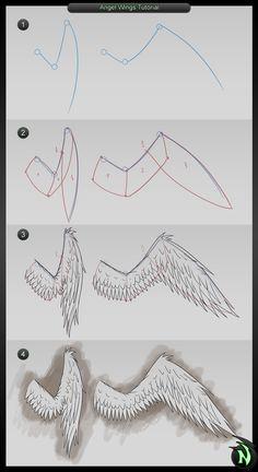 Tutorial- Angel Wings by NadillPL on DeviantArt Wings Sketch, Wings Drawing, Drawing Base, Diy Angel Wings, Diy Wings, Cosplay Wings, Cosplay Diy, Hawk Wings, Bird Puppet