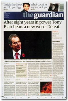 Clean masthead with teasers above.  Strong dominant photo facing the page--almost facing the headline.
