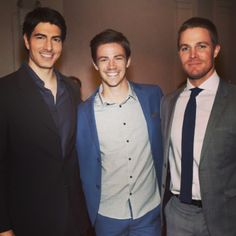 Brandon Routh, Grant Gustin, and Stephen Amell hmmm yes please