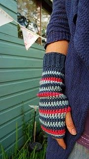 Crochet arm warmers - just like the ones I made a couple of years back but stripy!