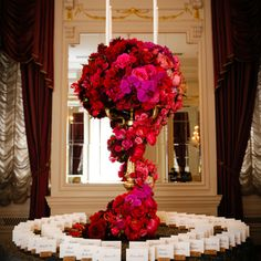 Beautiful escort card display | Photographer: Brian Dorsey Studios | Fleurs NYC | www.theknot.com