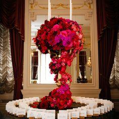 Beautiful escort card display | Photographer: Brian Dorsey Studios | Fleurs NYC | www.theknot.com