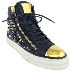 Pre-owned Giuseppe Zanotti Black London California Studded Lace-up... ($795) ❤ liked on Polyvore featuring shoes, sneakers, black, studded high top sneakers, black high tops, studded lace-up wedge sneakers, flat shoes and black flat shoes