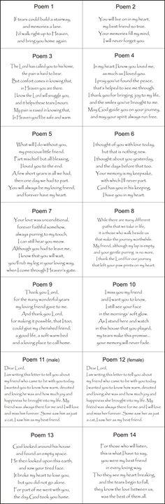 Pet Memorial Poems