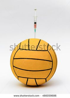 Water Polo Ball. Doping in sport concept. Water Polo Ball doping. Doping. Olympic Games without doping. Rio 2016. Sport. Isolated on white background. Gold medal. Winner. Illegal.