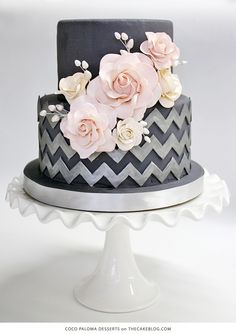 Beautiful Cake Pictures: Beautiful Silver Chevron Wedding Cake With Pink Flowers - Flower Cake, Patterned Cakes, Wedding Cakes - Gorgeous Cakes, Pretty Cakes, Cute Cakes, Amazing Cakes, Sweet 16 Cakes, Bolo Chalkboard, Chevron Cakes, Wedding Cake Inspiration, Wedding Ideas