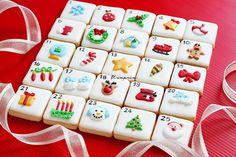 Christmas Biscuits, Christmas Sugar Cookies, Christmas Candy, Christmas Baking, Christmas Holidays, Advent Calenders, Diy Advent Calendar, Royal Icing Cookies, Cupcake Cookies